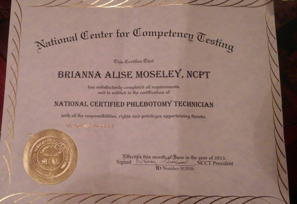 First National Certified Phlebotomy Technician certificate for ...